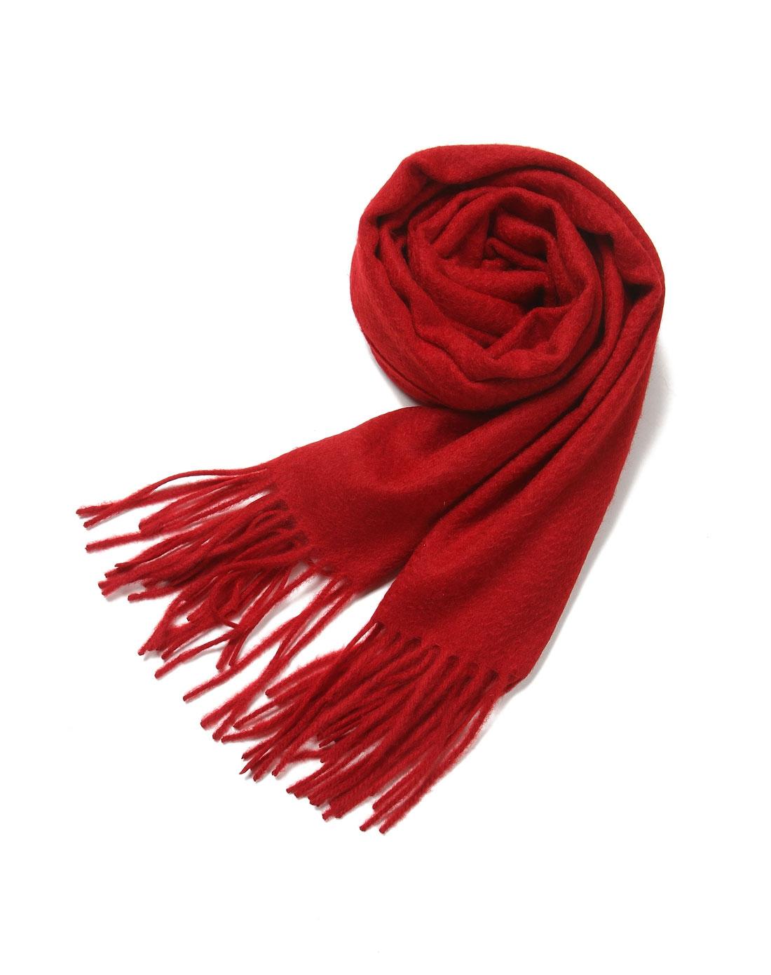 酒红色素色围巾