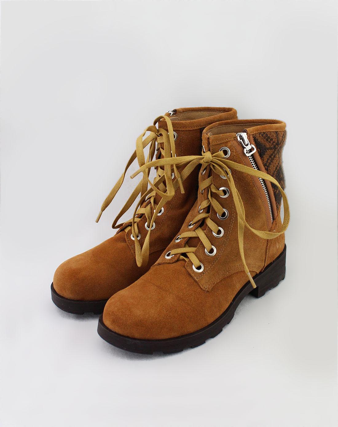 马丁靴女款品牌_GGIRL女款杏黄色休闲绑带马丁靴991E14080505C_唯品会