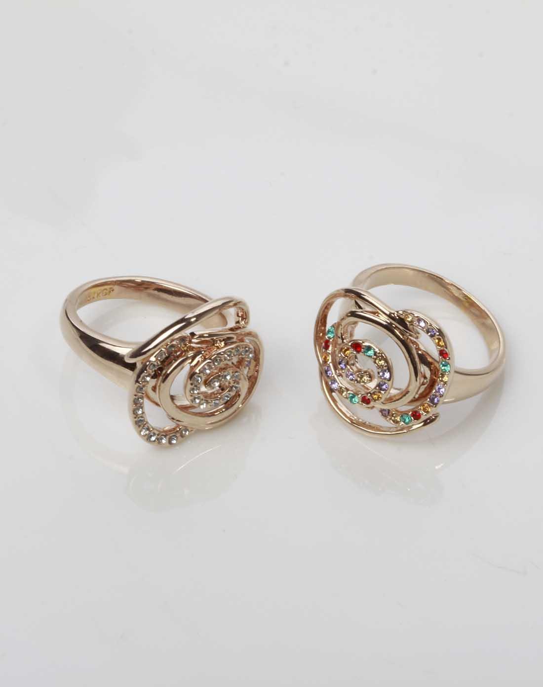 波西米亚七彩色玫瑰花戒指