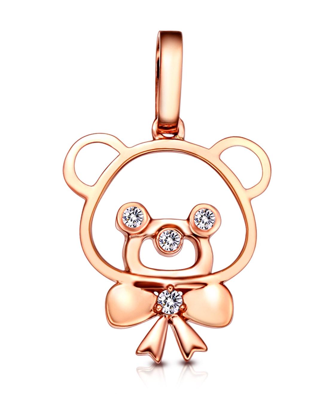 18k彩金小熊钻石吊坠 可爱萌物