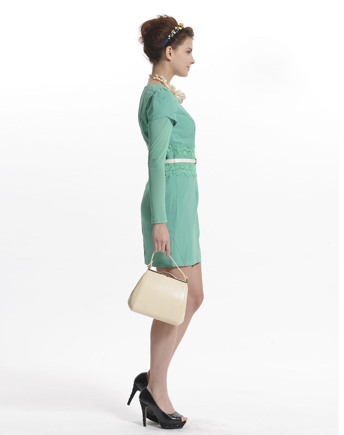 袖时尚_绿色郁金香型袖优雅时尚连衣裙