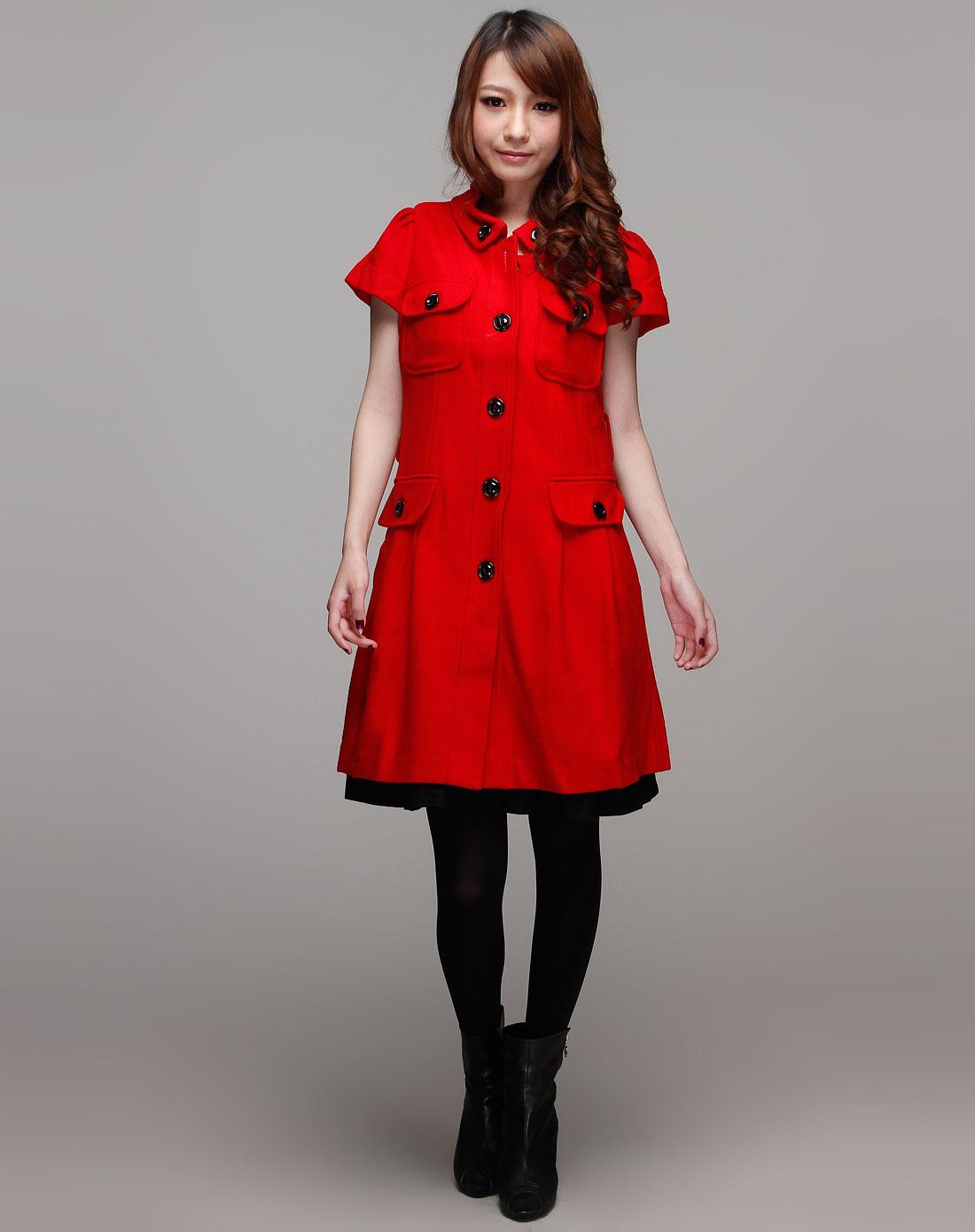 奥诗丹ostin红色时尚短袖大衣o240503121