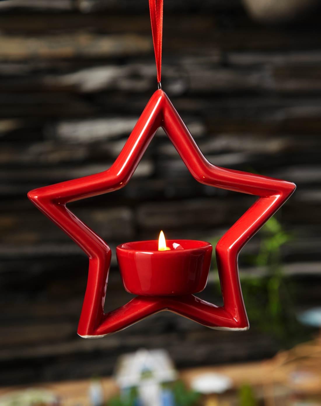 五角星镂空陶瓷个性烛台(红色)