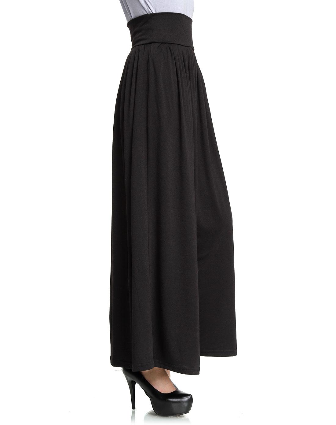 黑色时尚阔腿针织长裙裤
