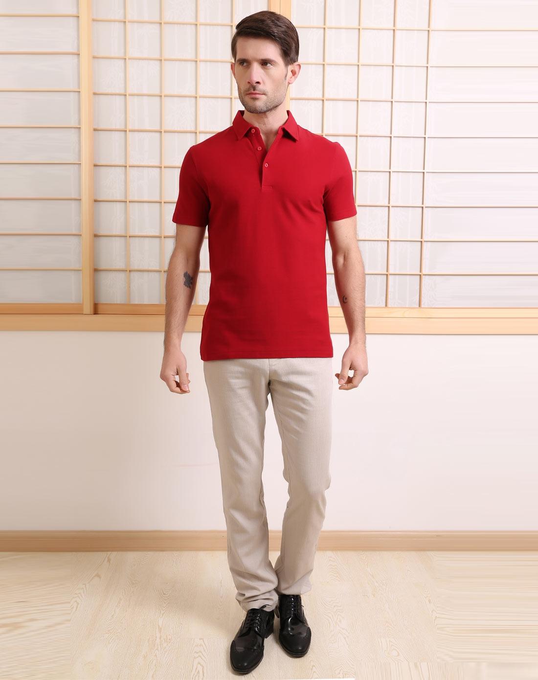红色简约商务款短袖polo衫