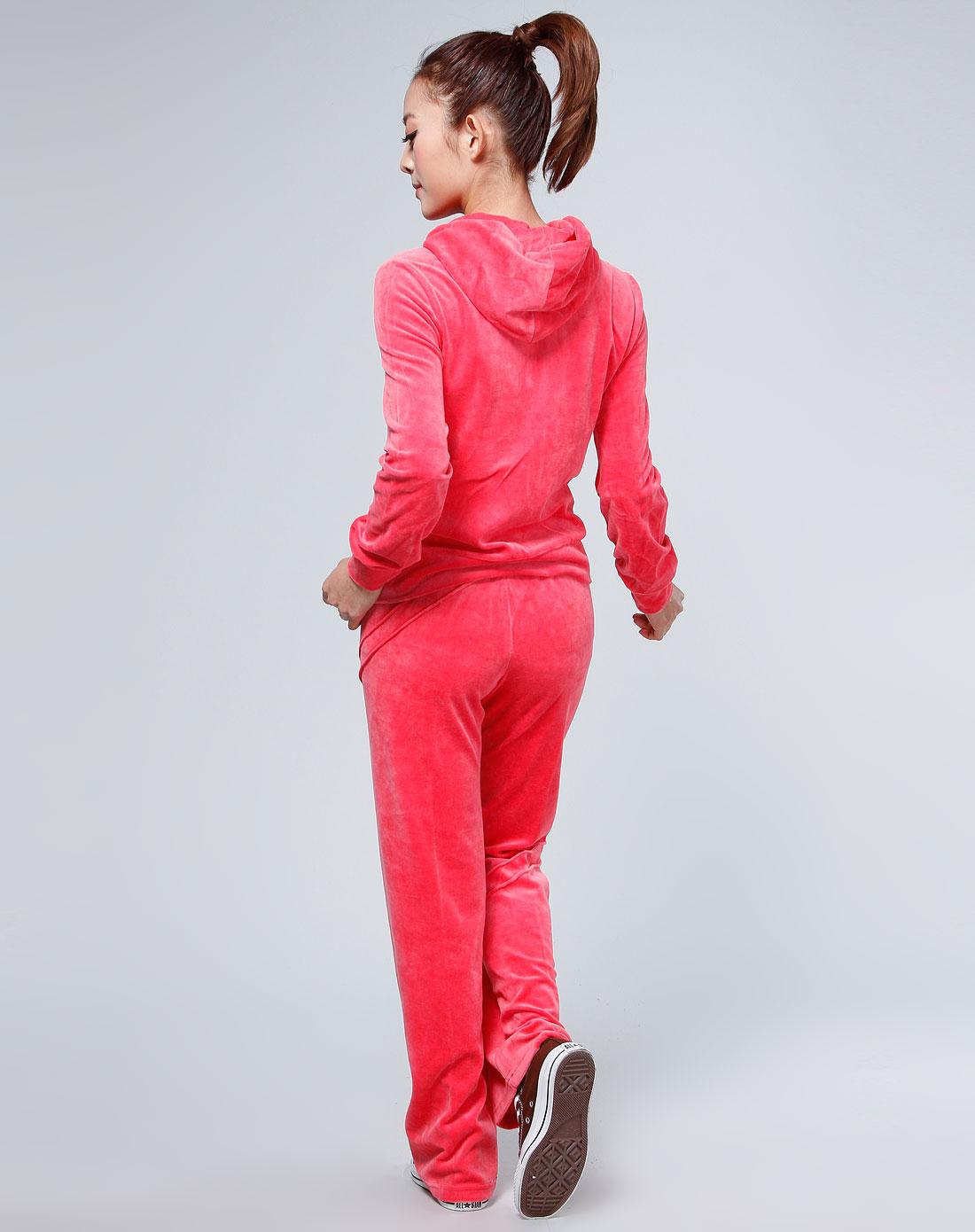 女款西瓜红色连帽长袖休闲运动套装