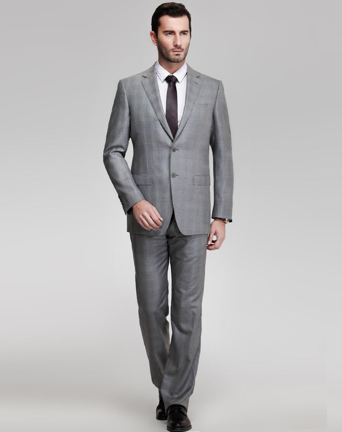 灰色长袖西装外套