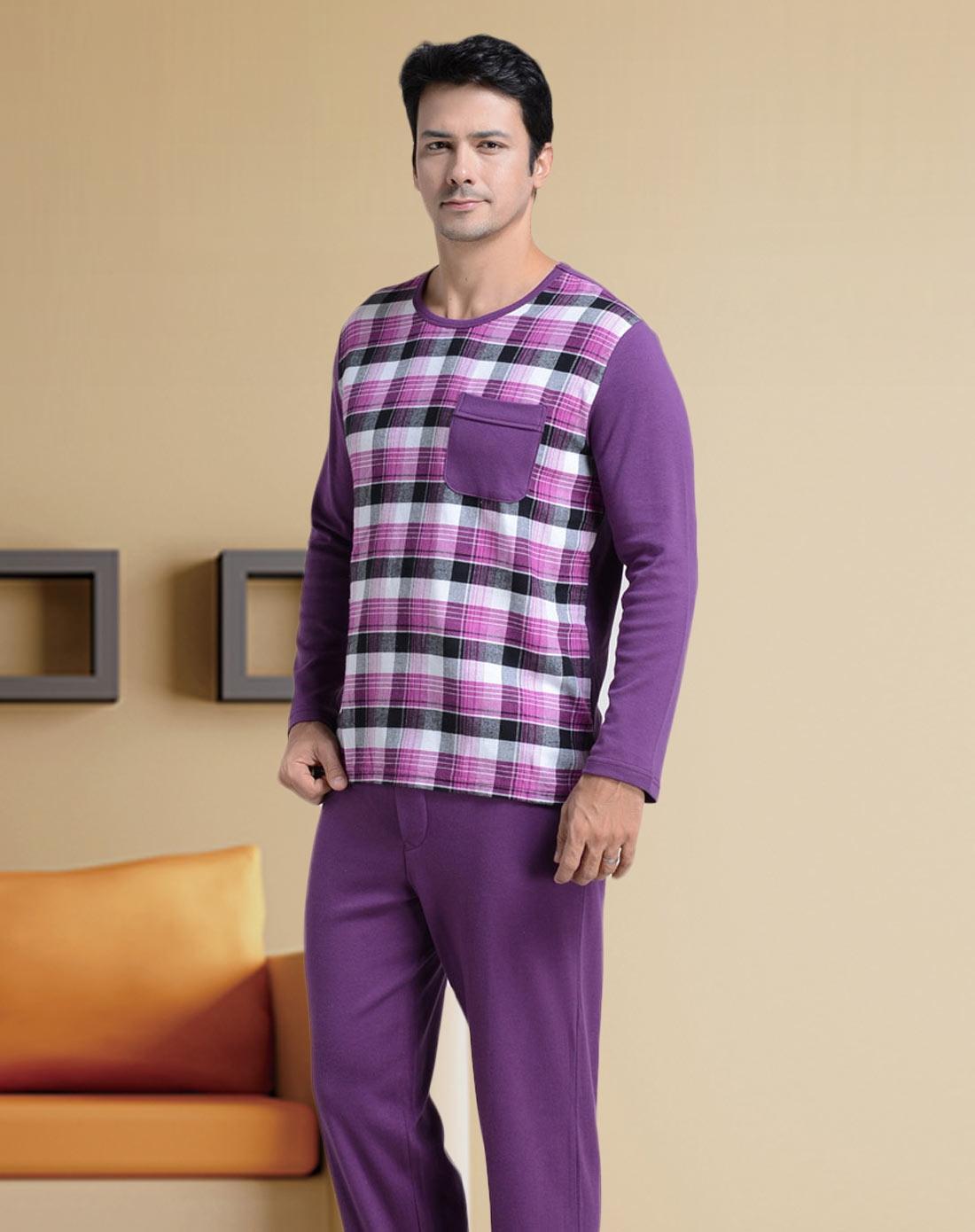 北极绒bejirog男女内衣男士紫色花格全棉睡衣套bw