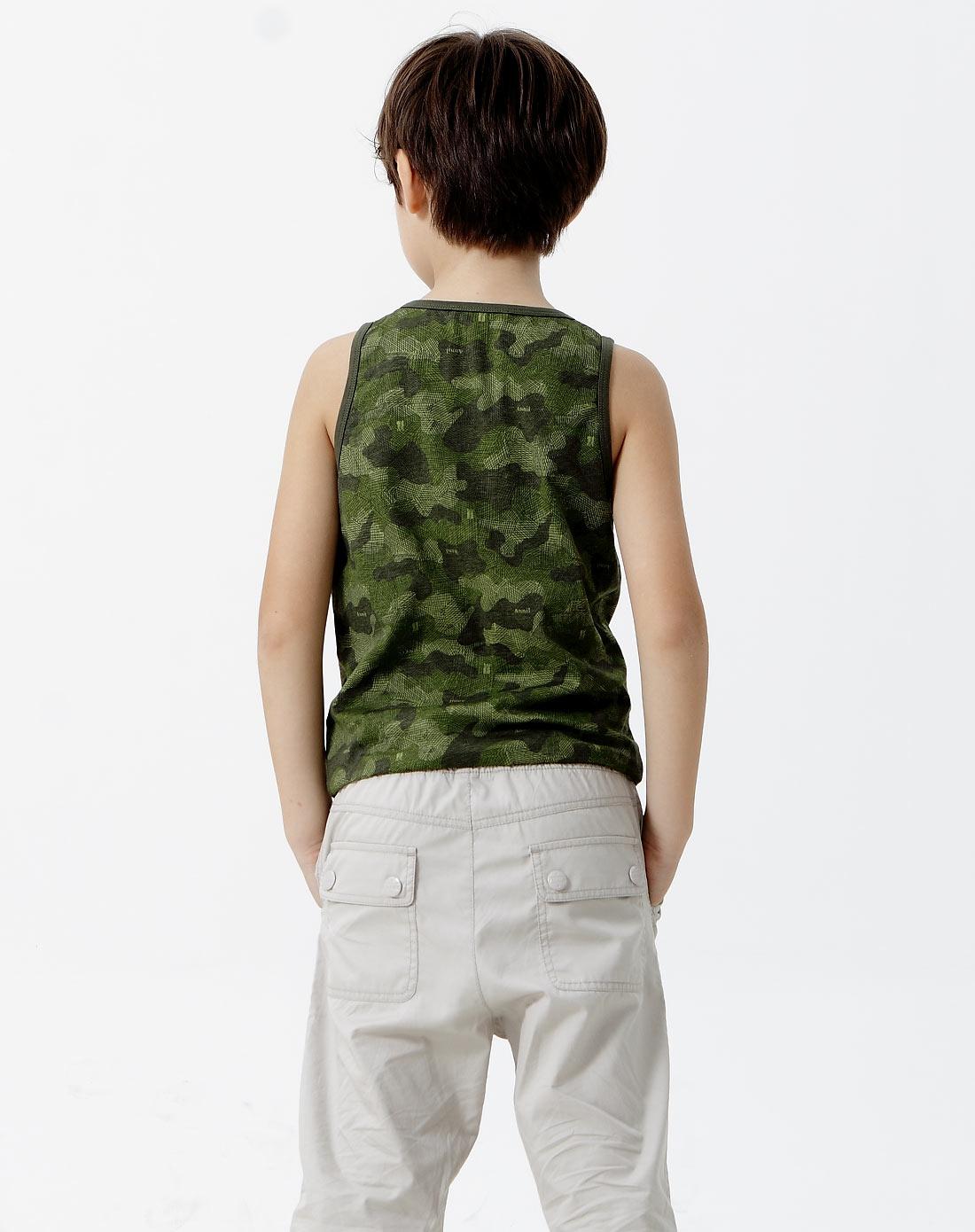 男童绿手绘迷彩花圆领针织背心