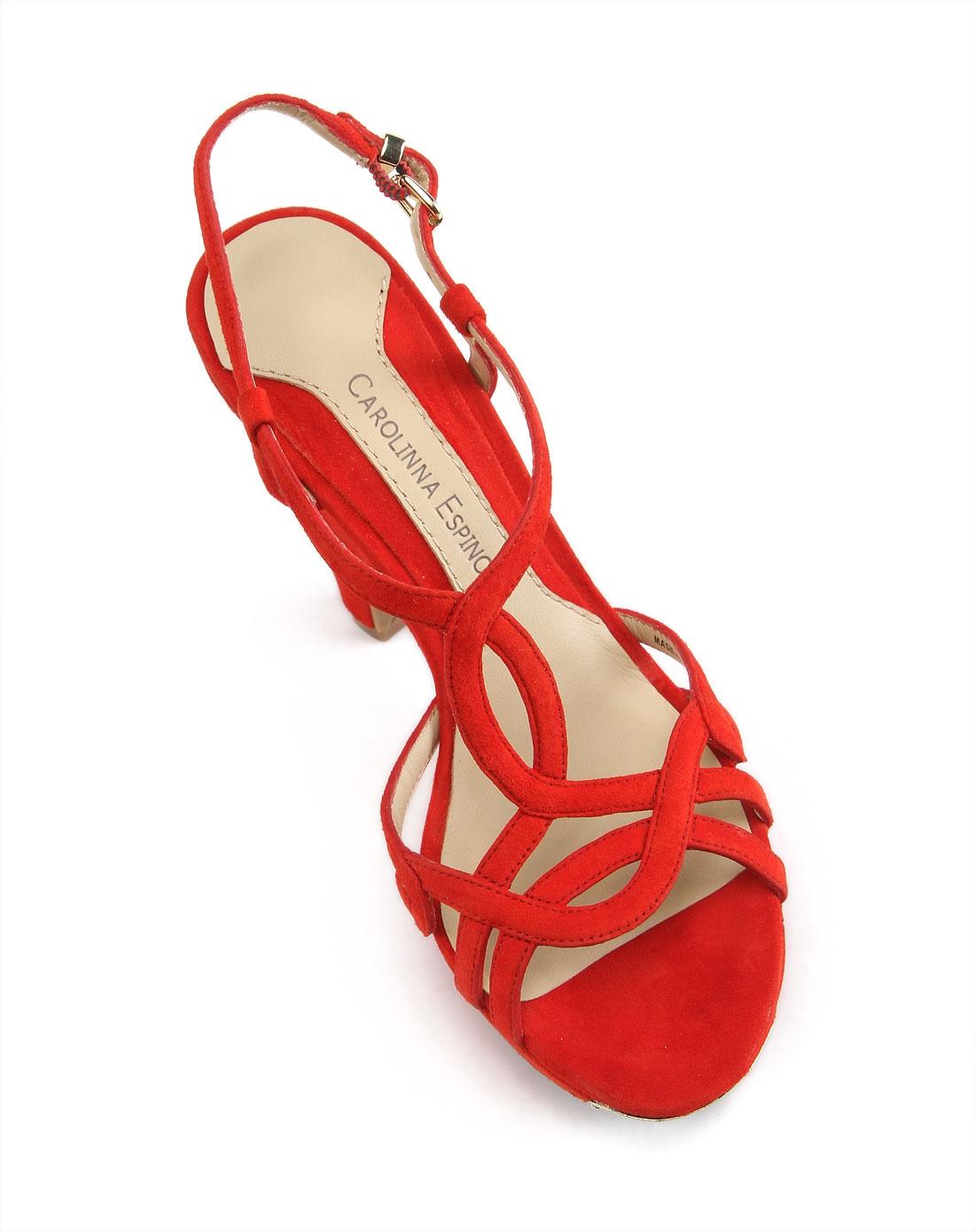 红色气质高跟凉鞋