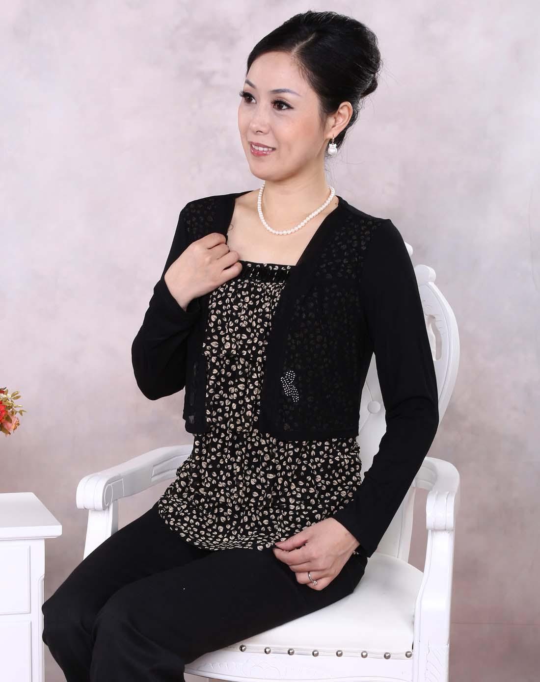 亚洲妈妈色�_女士咖啡色妈妈装时尚t恤
