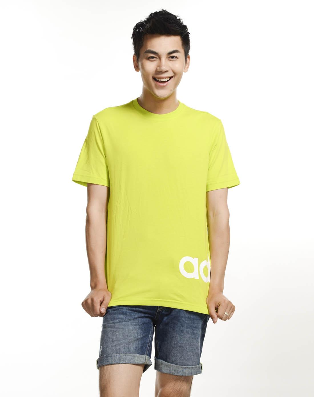 男子荧光绿短袖t恤