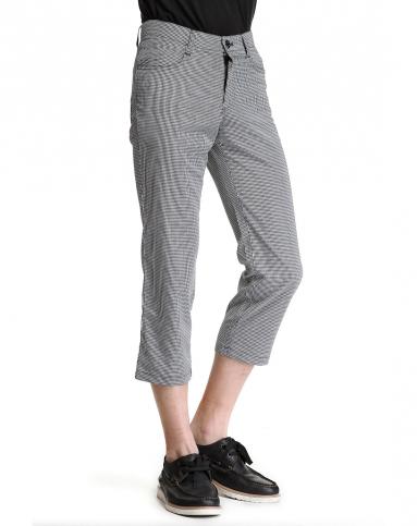 时尚百搭黑白色格子七分裤