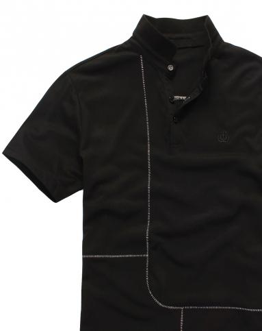 黑色撞色分割线解构主义短袖polo衫