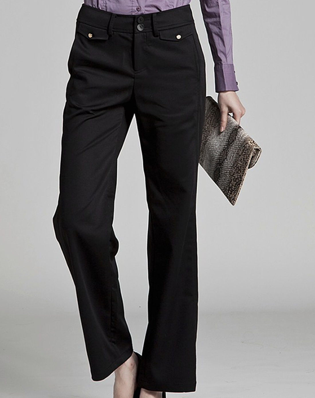 我是买手-伊芙丽eifini黑色纯色百搭阔腿裤长裤休闲