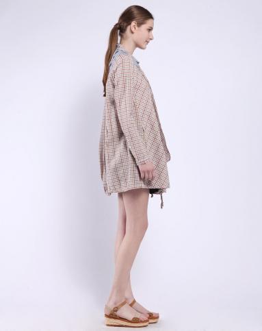 裸色格子结构连衣裙