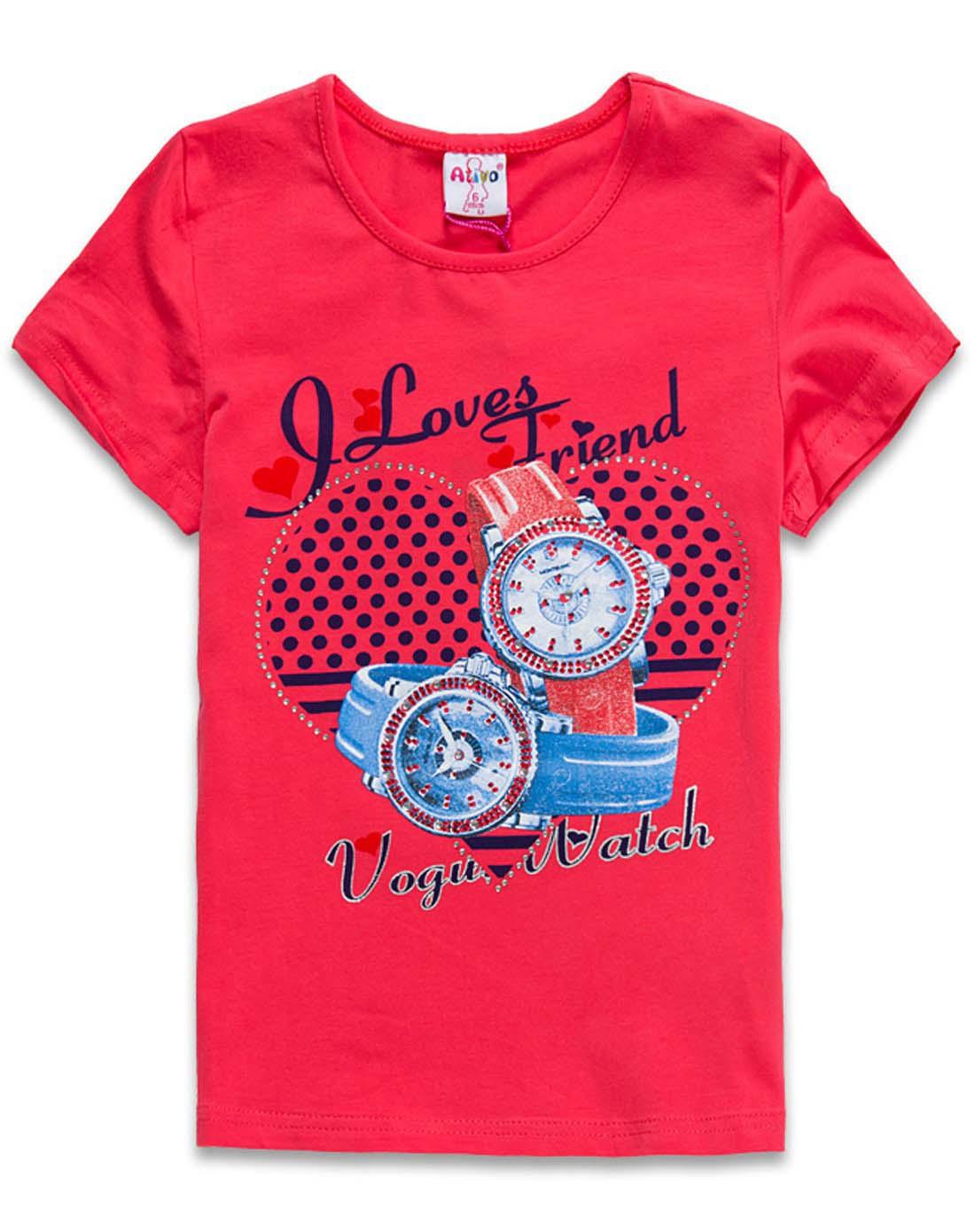 女童栖红带钻时尚可爱手表图案t恤