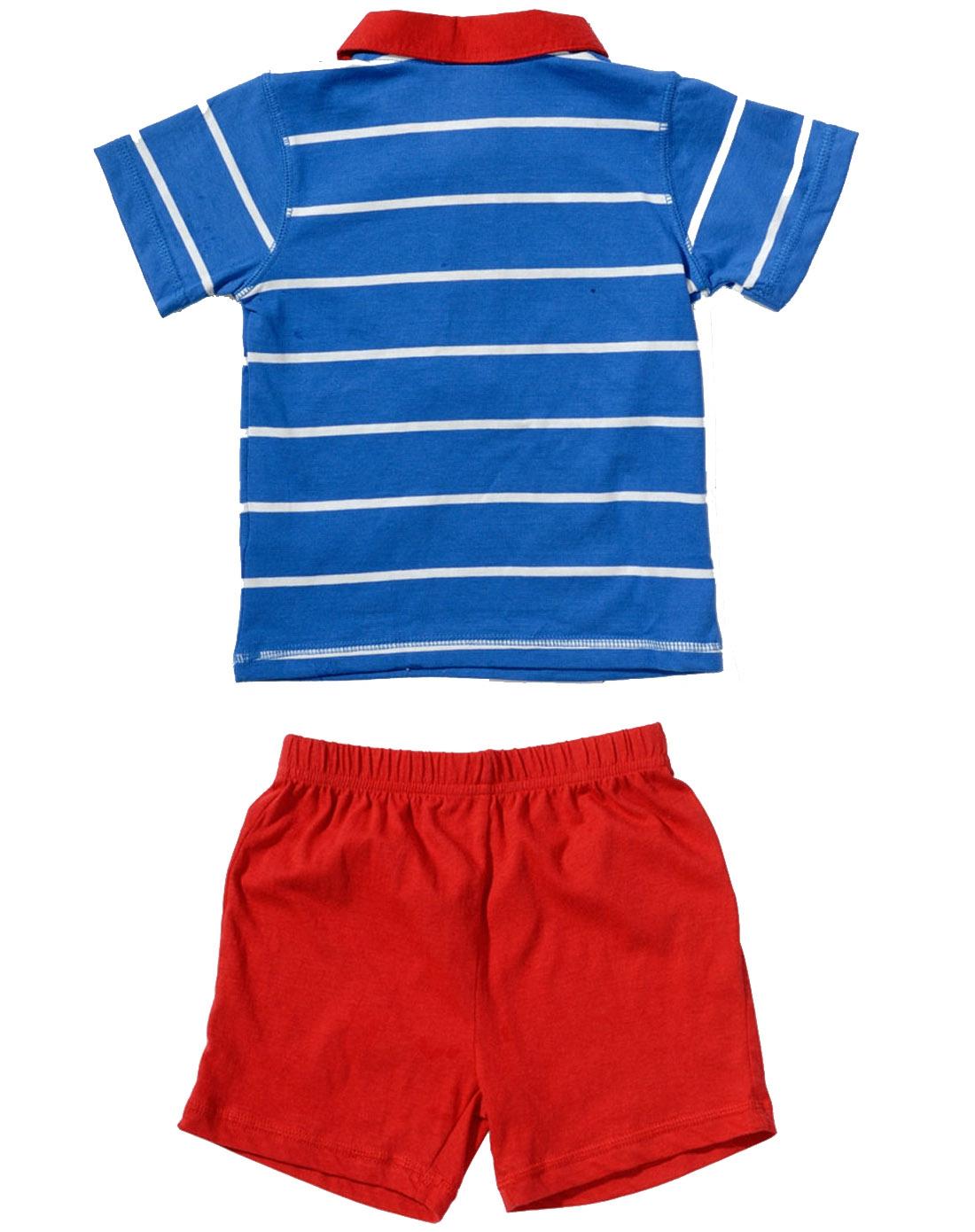 男童蓝色短袖t恤短裤套装