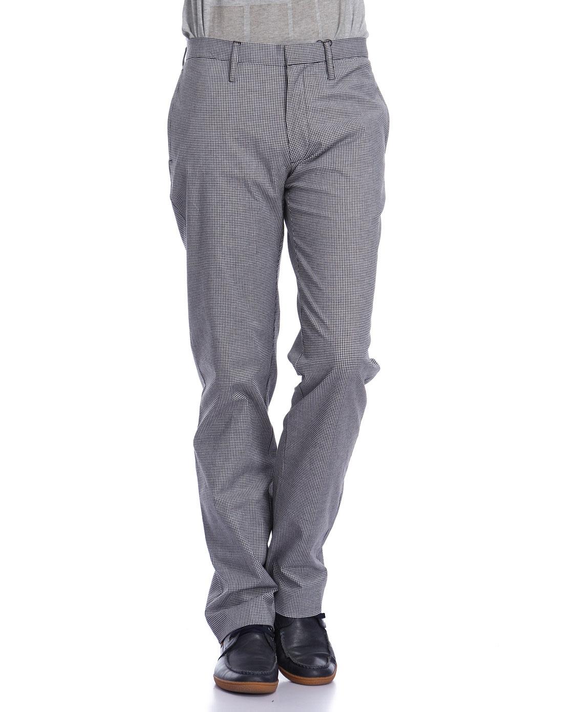 黑白色格子时尚休闲长裤