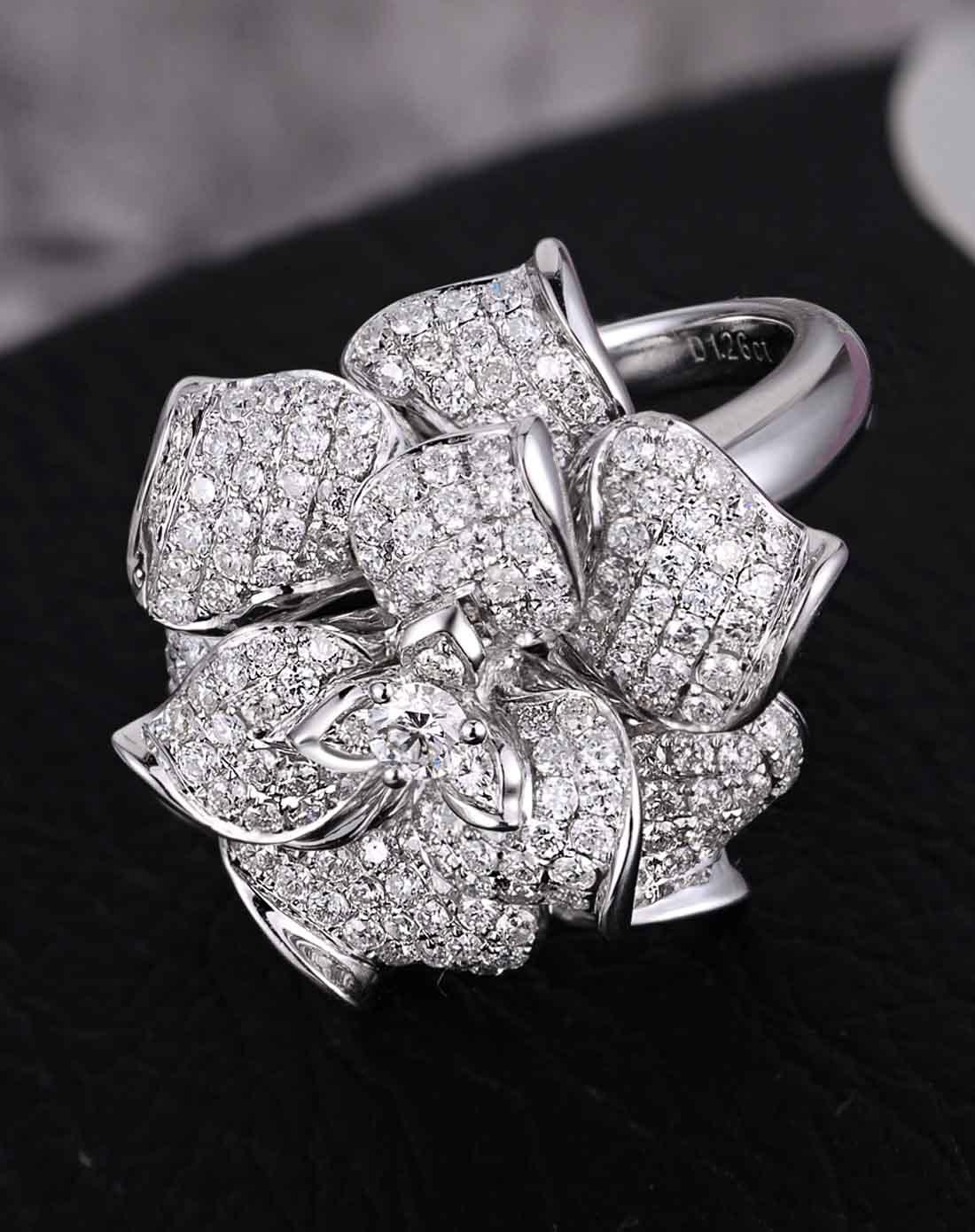 喜钻定制珠宝专场-白18k金豪华钻石戒指