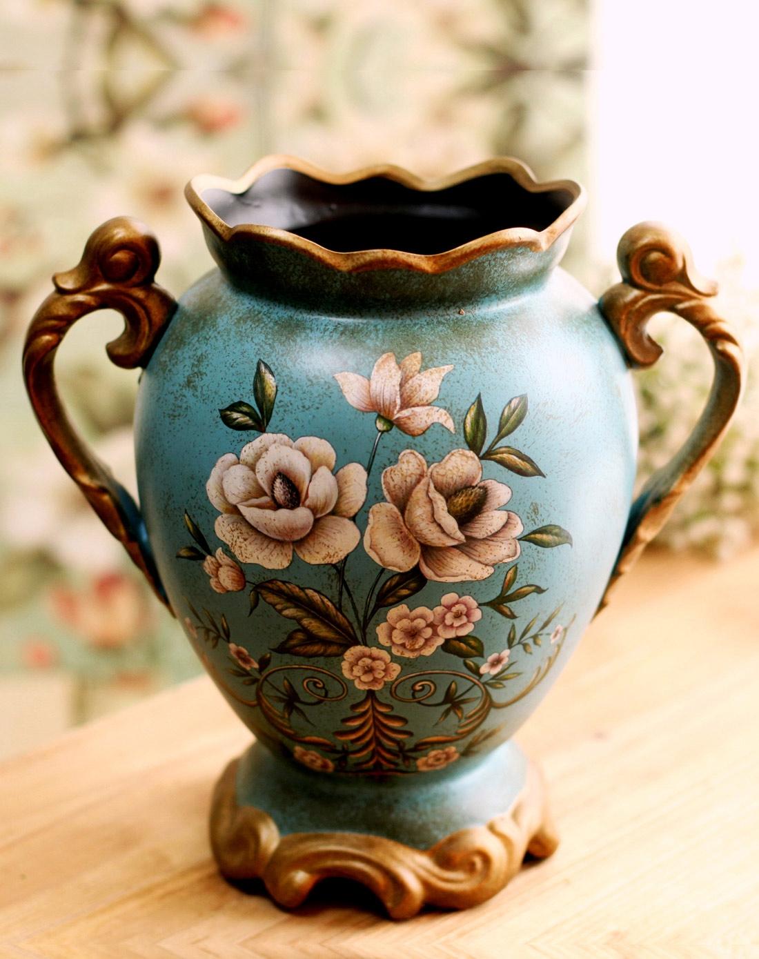 欧式蓝色寓言宫廷双耳陶瓷花瓶图片