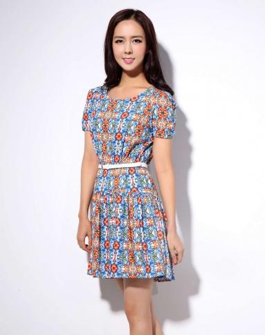 b2蓝色花纹半袖连衣裙jc2op8170403