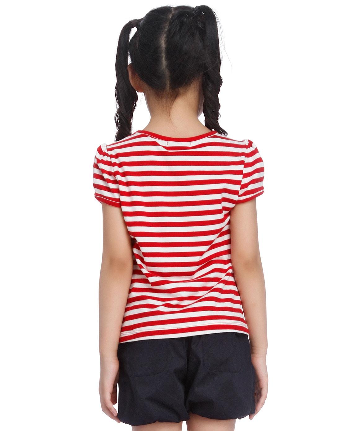 女童大红色条纹时尚短袖t恤