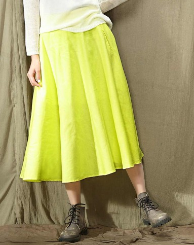 时间轴 文艺纯色半裙 清新黄