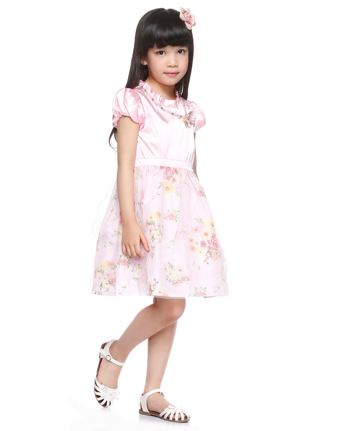 curlysue男女童女童粉红色可爱时尚短袖连衣裙shm1g44