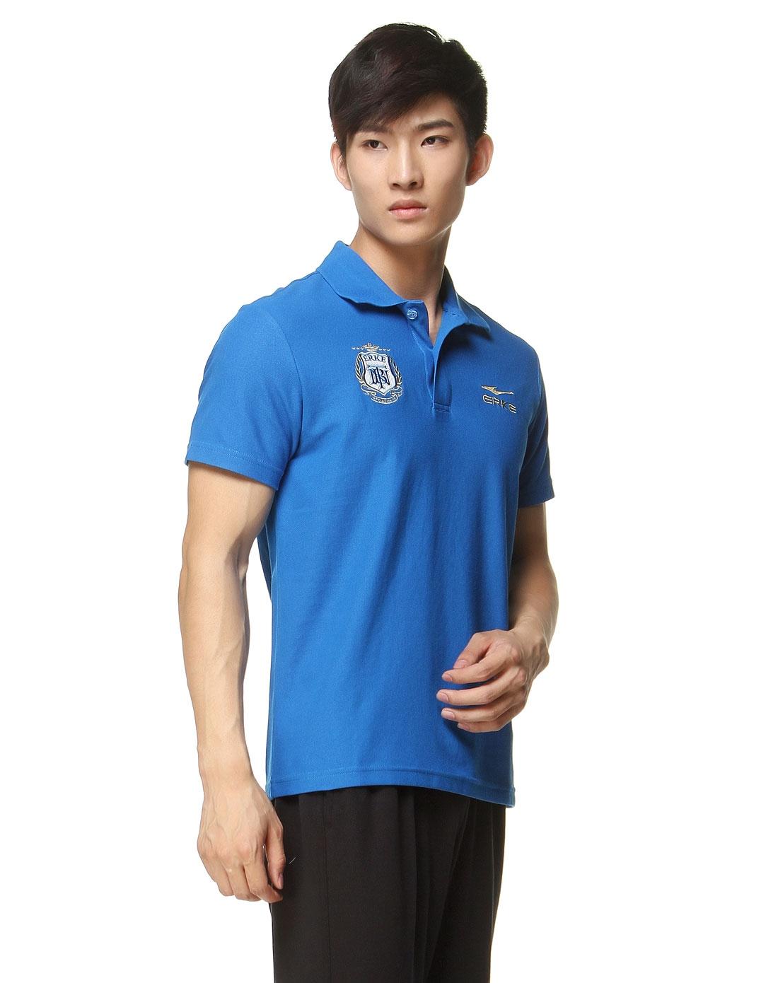 简约印章男款彩蓝色短袖polo衫