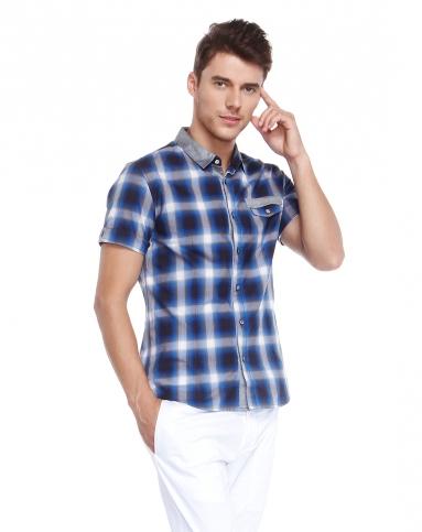 蓝色英伦风格子短袖衬衫