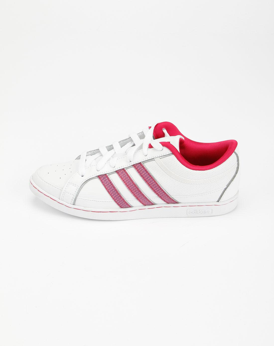 阿迪达斯adidasneo 女款白/玫红色休闲鞋g11919