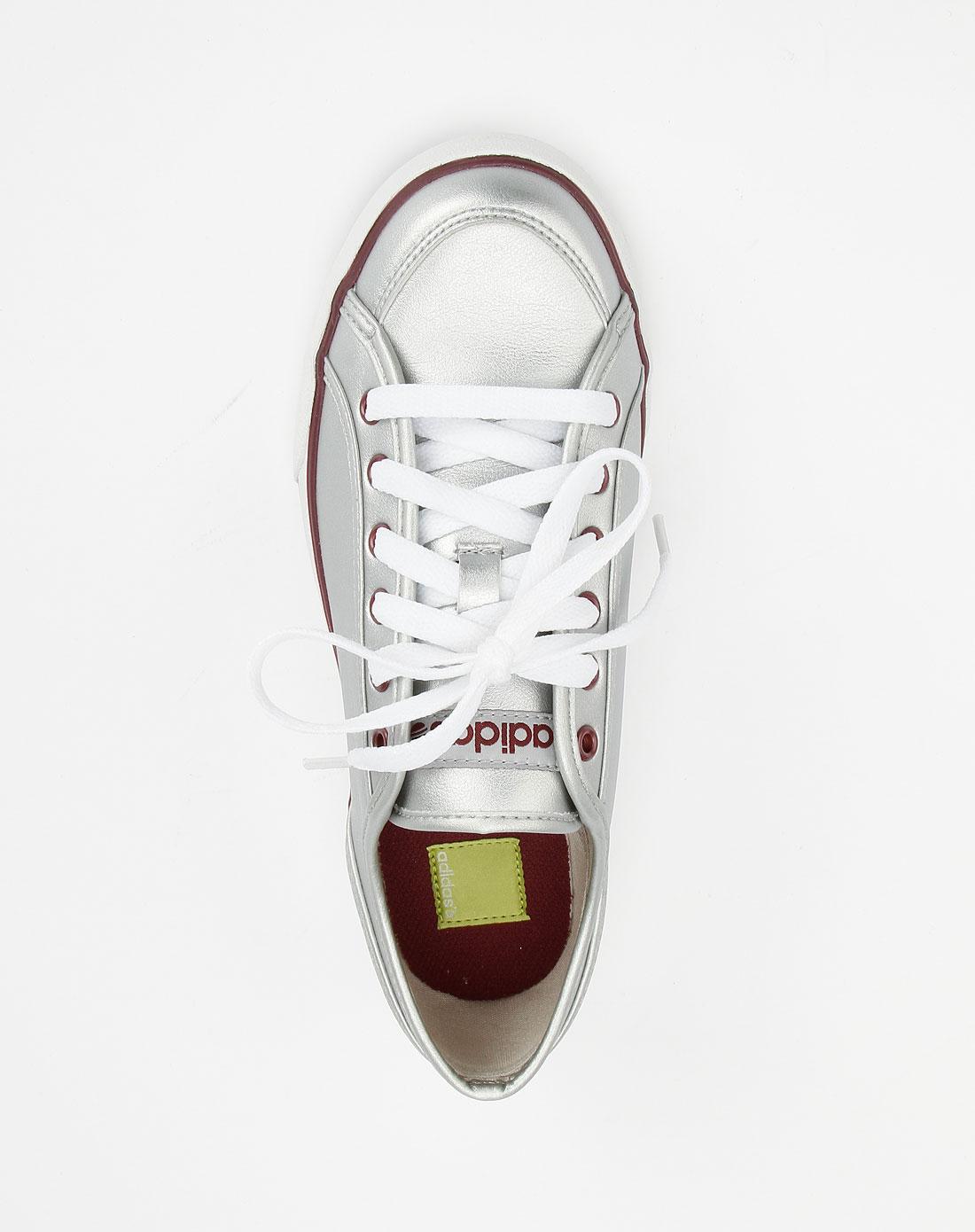 阿迪达斯adidasneo 女款银色时尚帆布鞋g31080