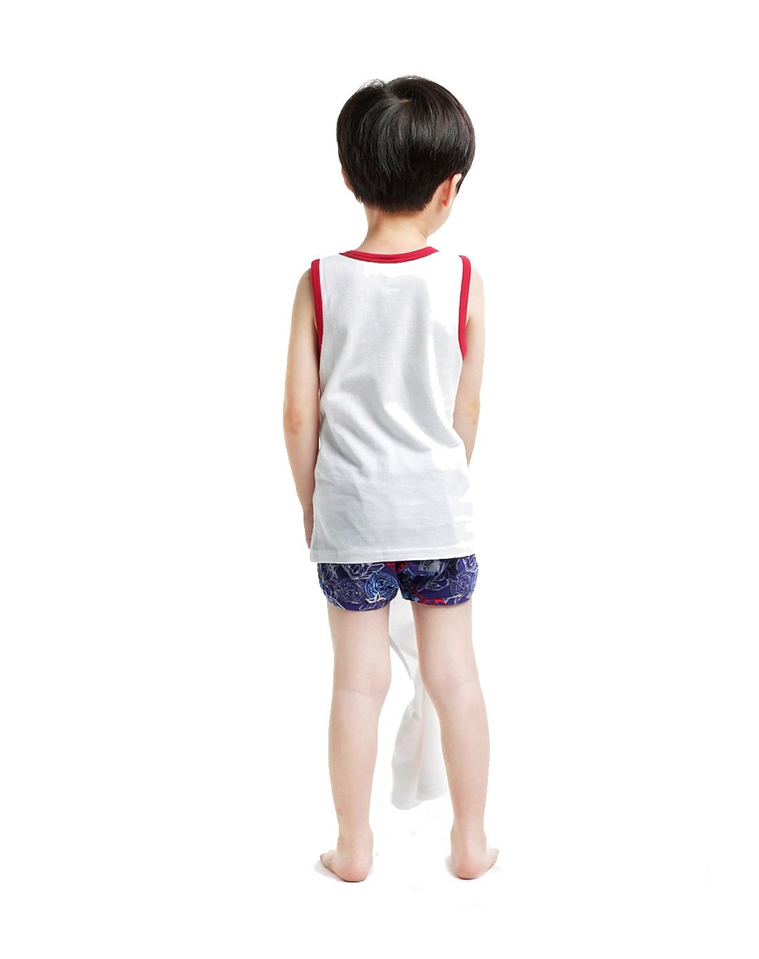 三枪迪士尼disney儿童家居内衣专场男童白色弹力网