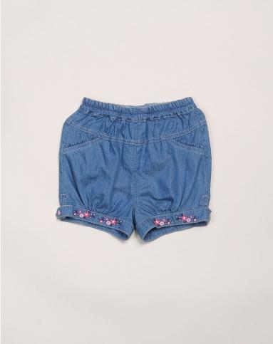 女婴牛仔蓝色可爱牛仔短裤