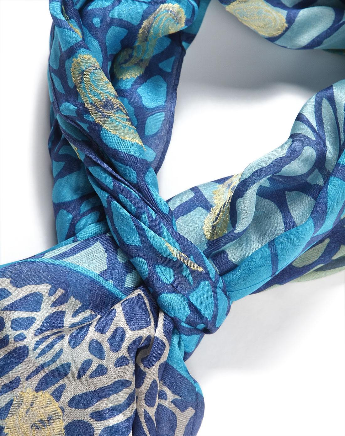 蓝色陨石腰果100%桑蚕丝丝巾