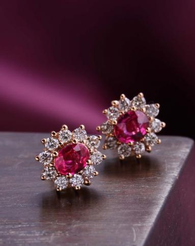18k玫瑰金镶缅甸红宝石戴妃款耳钉(附证书)图片