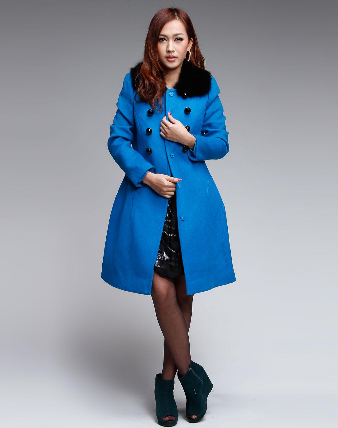 斯尔丽湖蓝色休闲双排扣长袖大衣0h990-520