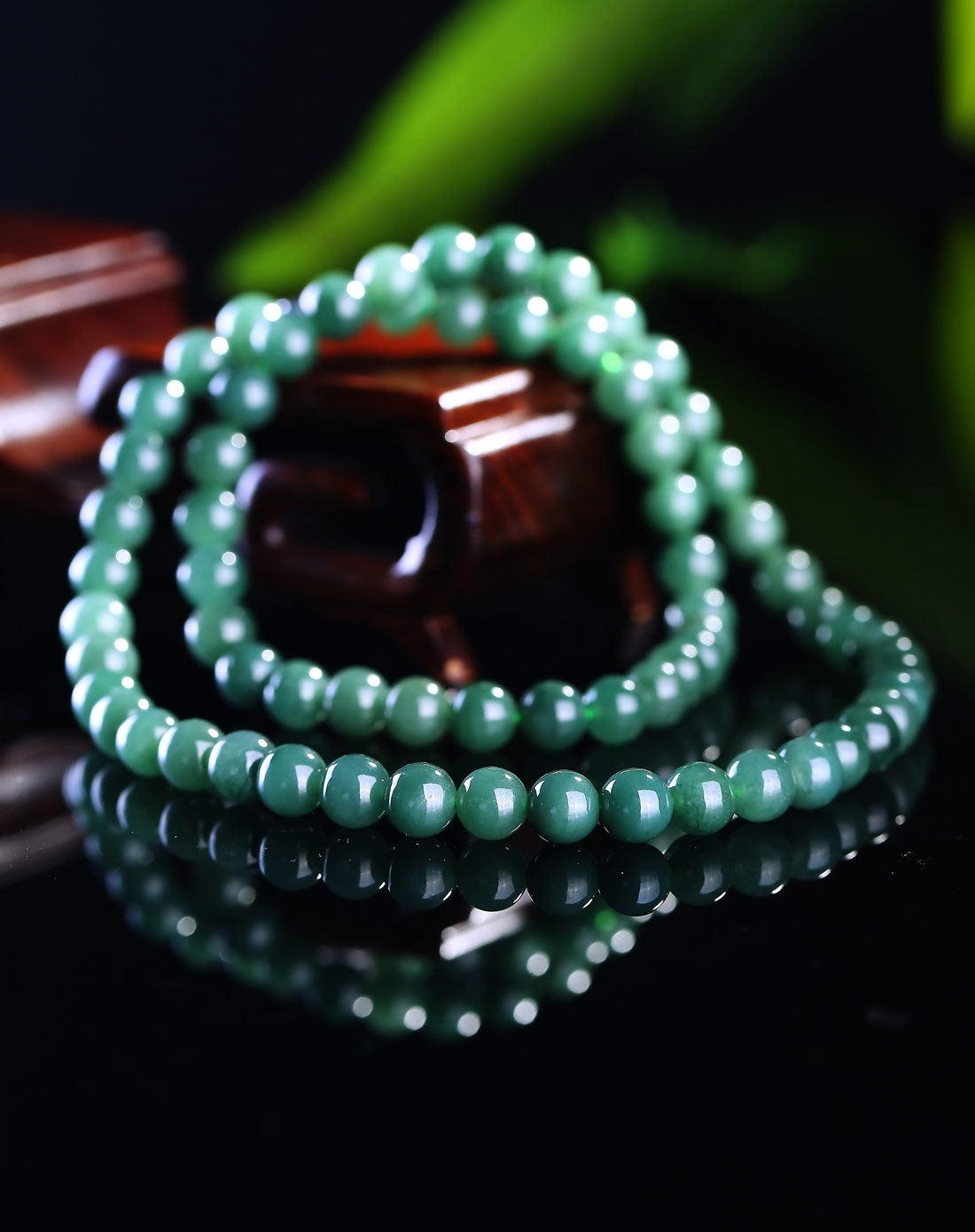 冰油青种满绿精选翡翠珠子精编项链