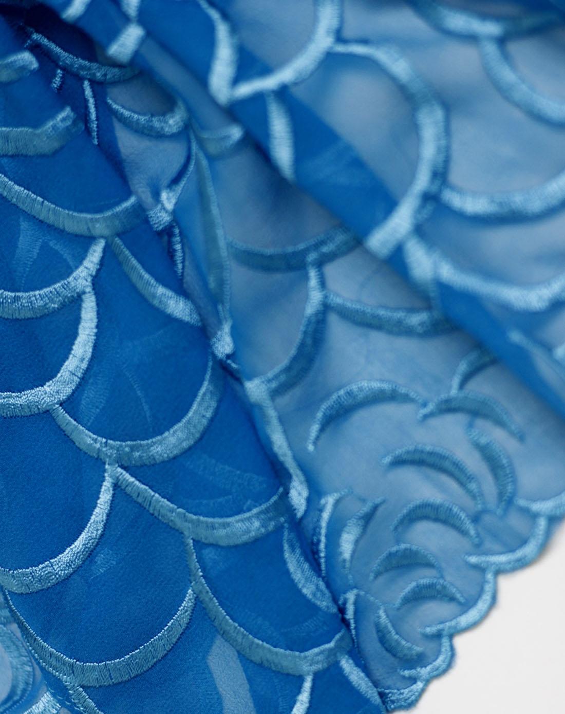 女深蓝色桑蚕丝单色刺绣披肩