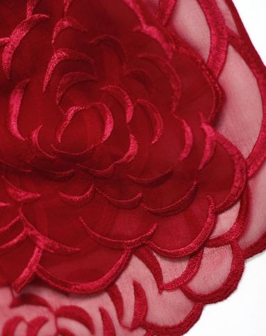女红色桑蚕丝单色刺绣披肩