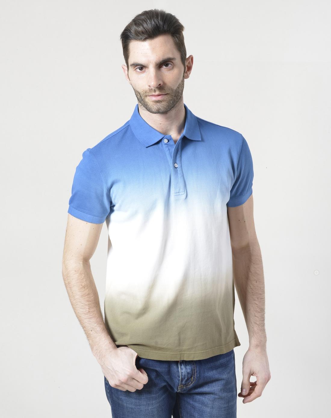 蓝白绿色个性渐变短袖翻领t恤图片