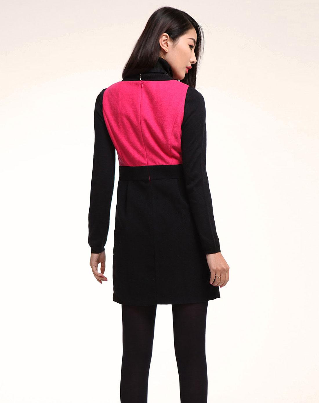 粉红时尚拼色呢子背心裙