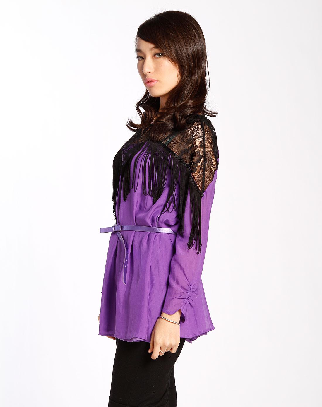 紫色流苏长袖上衣