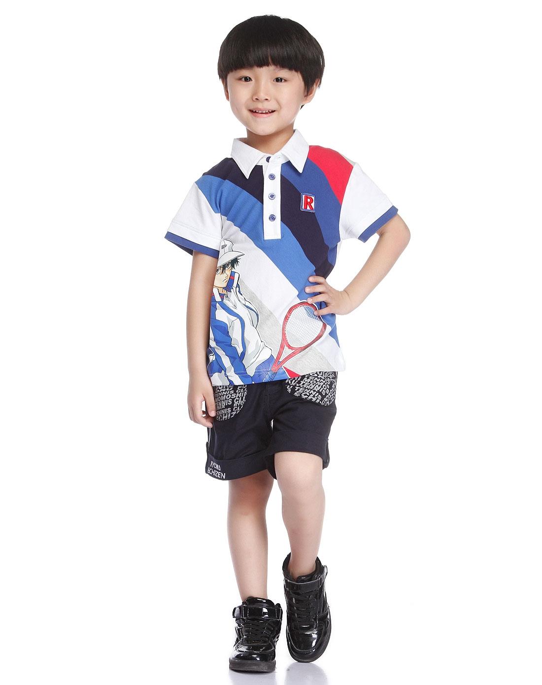 网球王子 男童蓝/白色卡通印图翻领短袖t恤