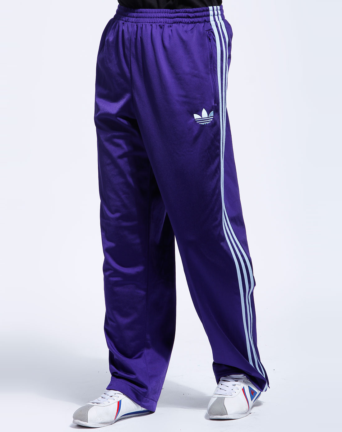 阿迪达斯adidas-男装专场-三叶草 男款紫色经典运动长裤