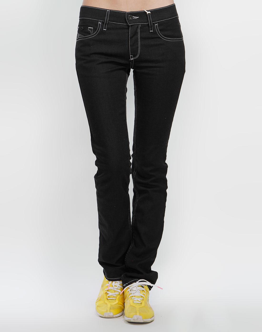 女款黑色牛仔长裤q07675