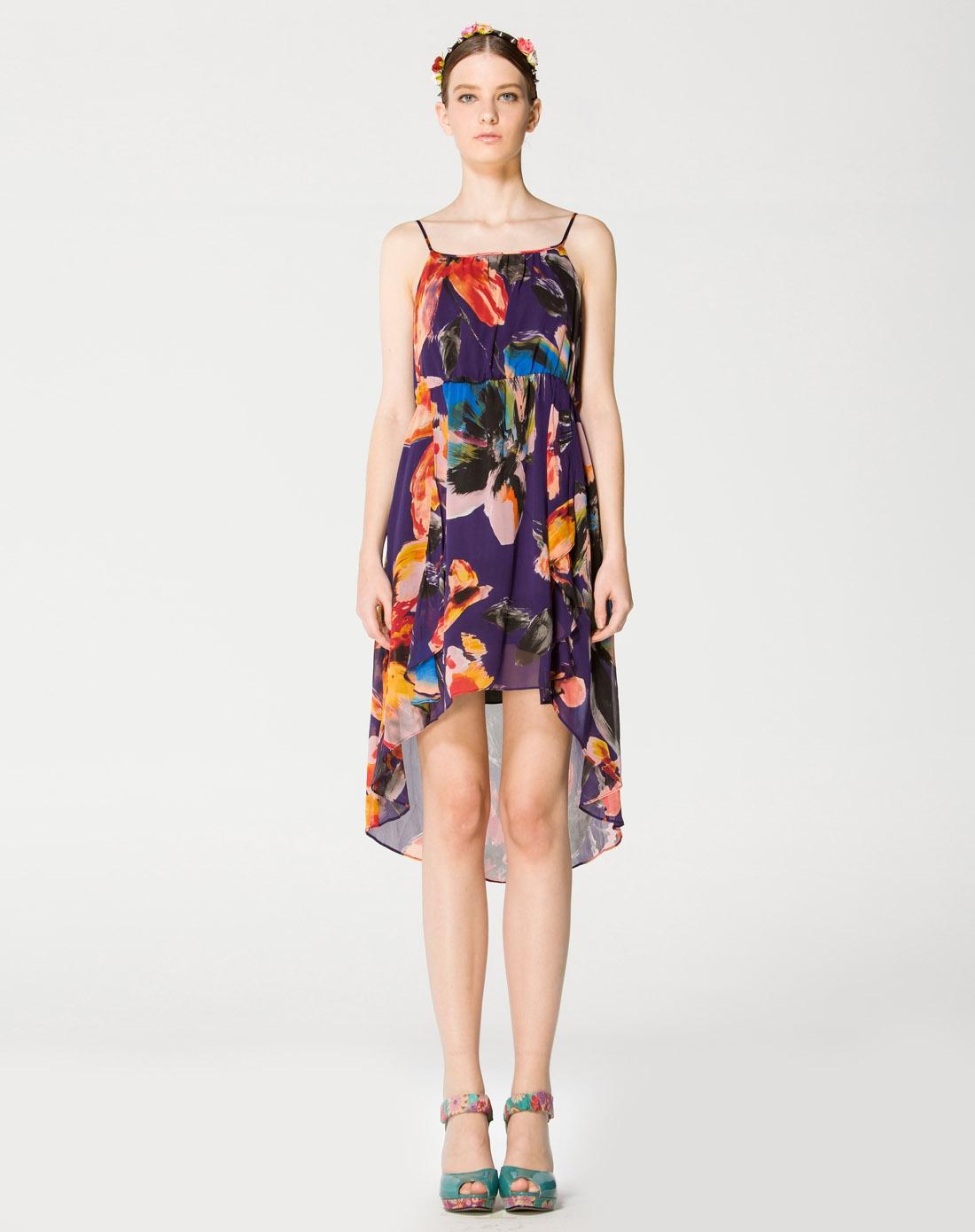 紫色桑蚕丝手绘连衣裙