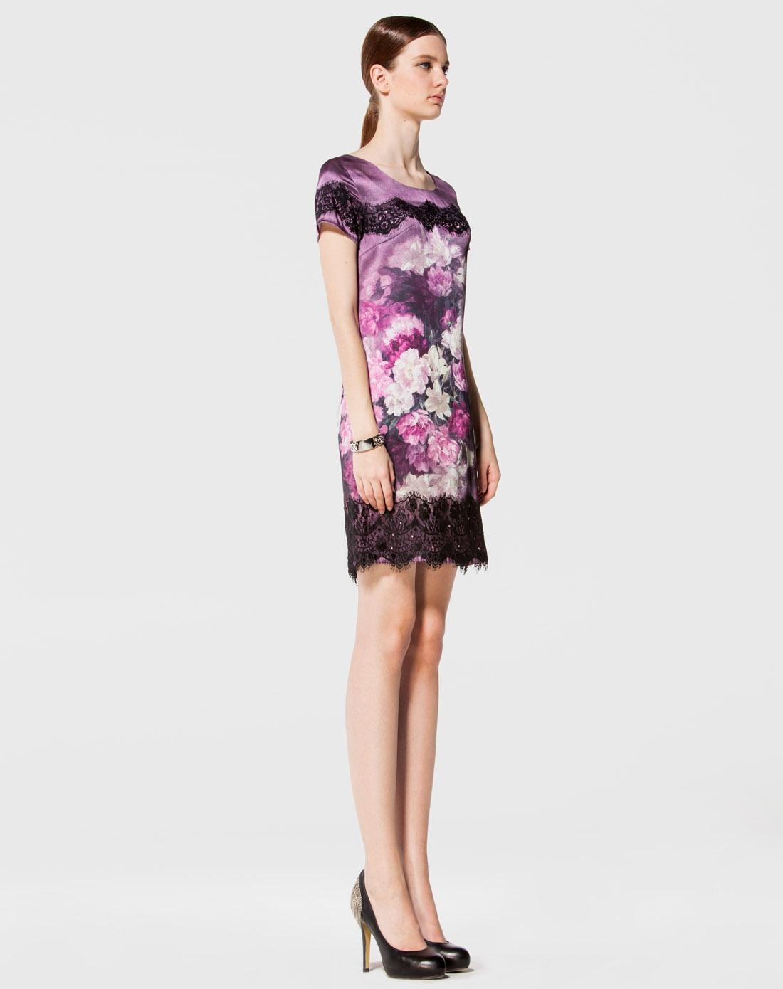 紫色手绘桑蚕丝连衣裙