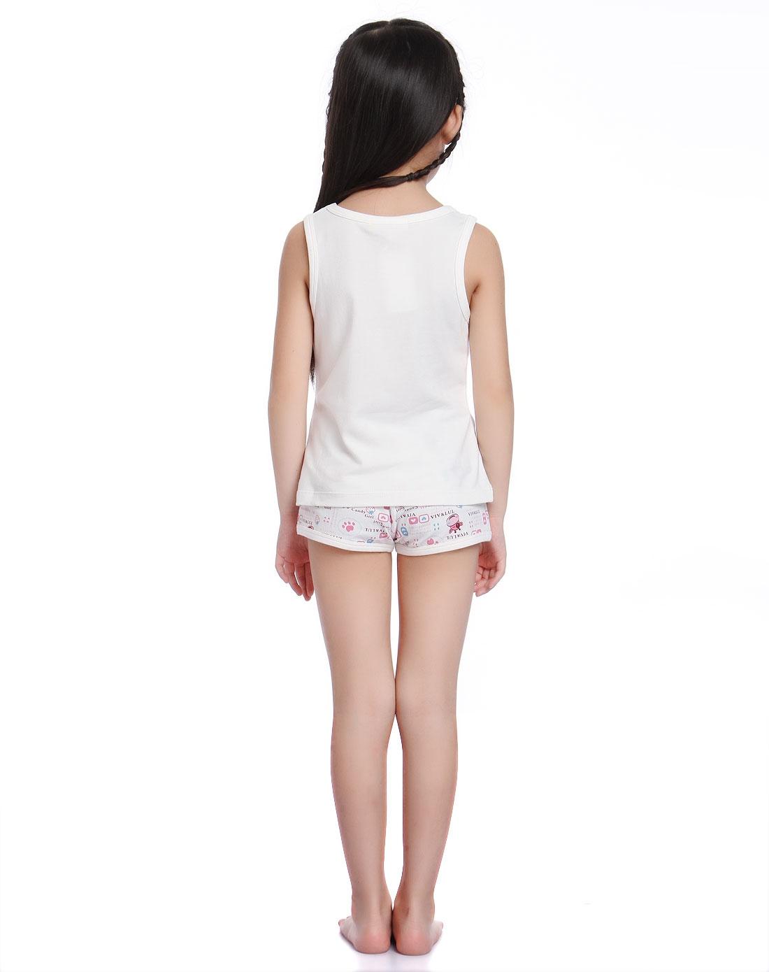 女童白底粉色可爱印花背心家居套装